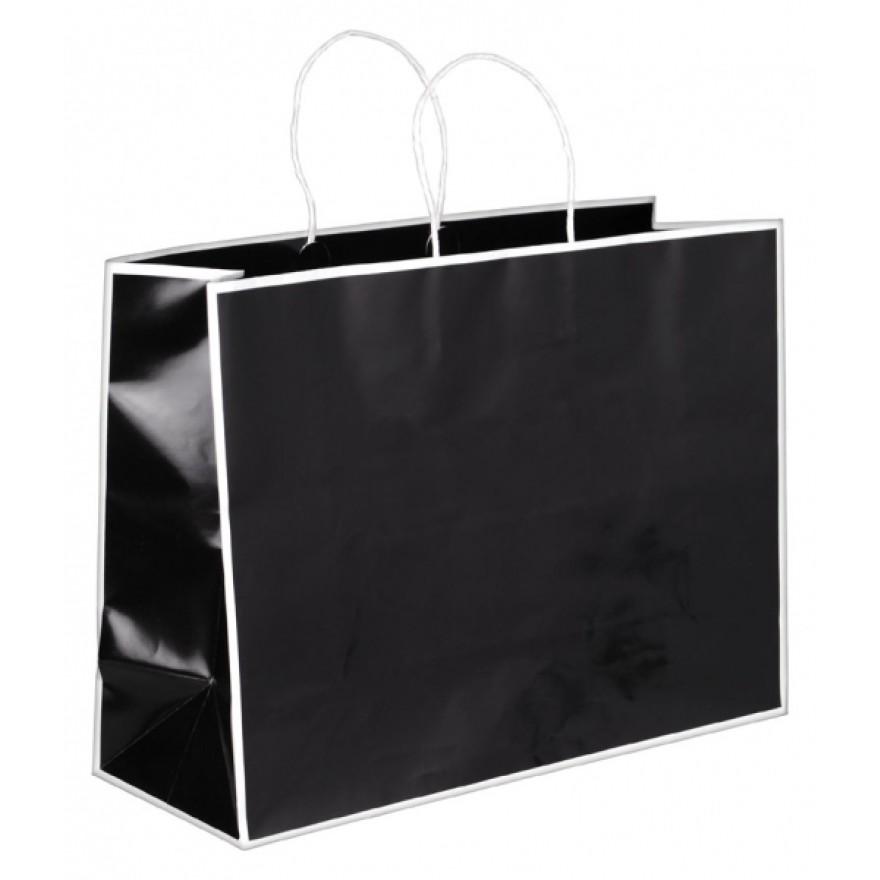papiertragetaschen schwarz und weiss mit glanzfolie und kordel in taschenfarbe. Black Bedroom Furniture Sets. Home Design Ideas